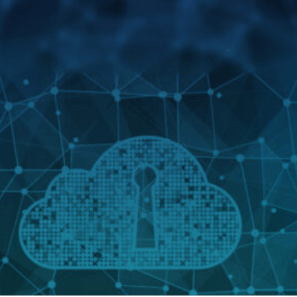 Abstract blue geen image of network and a cloud security lock
